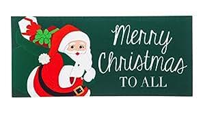 Evergreen Scientific Sassafras Decorativo Conjunto de Alfombrilla, Alfombra Tamaño: 10x 22Pulgadas, Scroll Alfombrilla Fram Tamaño: 18x 30Pulgadas, Santa Claus