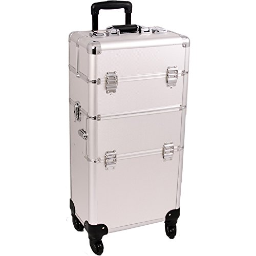 SUNRISE Makeup Case on Wheels 2 in 1 Professional Artist Organizer I3161, 4 Slide and 1 Removable Tray, 4 Wheel Spinner, Silver Dot by SunRise