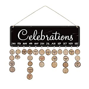 Airelon Birthday Reminder Board, Pure Natural Wood Handmade Anniversary Holiday Festival Record Calendar Plaque DIY Ornaments Wall Hanging Calendar Board to Kids Friends Decoration Crafts (#01)