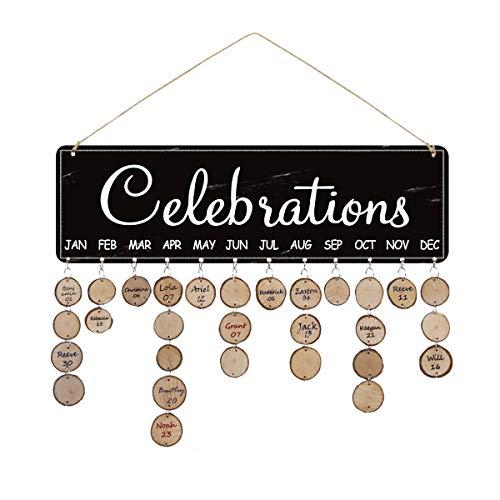 Airelon mom Gifts Birthday Celebrations Reminder Calendar Board Wall Hanging DIY Decorative Birthday Tracker Plaque Wall…