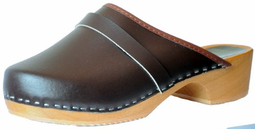 Marited Unisex-Adult Leather Wooden Clogs W 14/ M 12 / 46 EU Brown