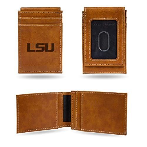 Rico Industries NCAA LSU Tigers Laser Engraved Front Pocket Wallet, Brown