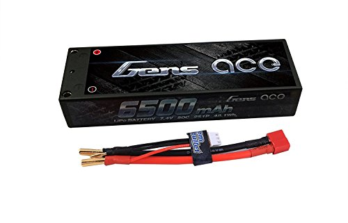 Gens ace LiPo Battery Pack 6500mAh 7.4V 50C 2S HardCase 10# for RC Car Boat Truck Heli Roar Approved