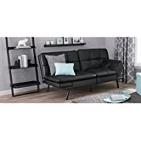 Faux Leather Split Seat Futon with Memory Foam and Recycled Foam Stuffing