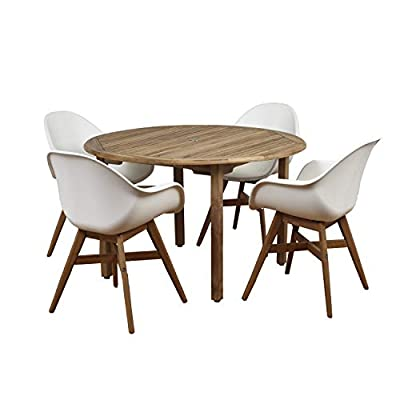 Brampton 5 Piece Outdoor Teak Round Dining Set | Perfect for Patio | with White Chairs - Perfect outdoors: 5 Piece patio Dining furniture set, ideal for patios, backyards, gardens, balconies, Poolside and more. Dimensions: Table Dimensions 47D x 29H. Chair Dimensions 23.5L x 25W x 34H Seating Dimensions 20.5L x 16W x 17.5H. Table Material: High Quality Teak Wood (Tectonic Grandis). Chairs Material: Virgin White Resin buckets and Eucalyptus Wood legs with teak finish. Its resistance to weather and UV radiation makes the set durable and enjoyable. - patio-furniture, dining-sets-patio-funiture, patio - 41Bq  VZkgL. SS400  -