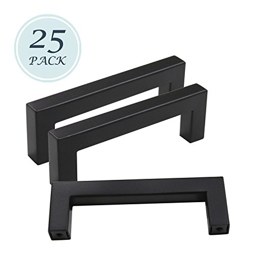 25 Pack Width 1/2 Stainless Steel Square Corner Bar Kitchen Cabinet/Cupboard Pulls Black Finish, Hole Distance 3.75