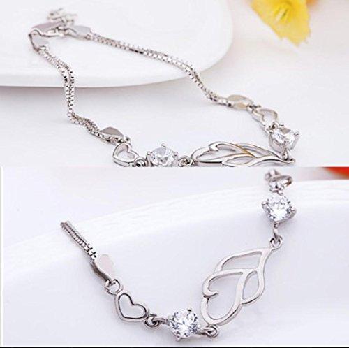 DUlijun Mesdames cristal de double coeur double platine plaqué bracelet de diamant violet bracelet en argent 925