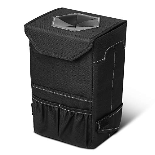 Carpuride Car Trash Can, Premium 600D Oxford Cloth and 100% Leak-Proof Lining Car Trash Bag Hanging for Headrest with 3 Storage Pockets, Portable Car Accessories Keeps Vehicles Interior Clean