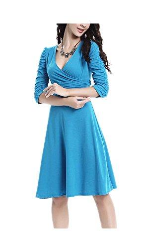 7 Waist Casual High Women's Sky Neck Dress Blue Flared ARJOSA V Slim Deep Fit RPqSZ1