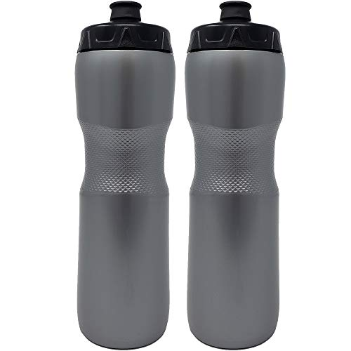 50 Strong 28 oz. BPA Free Squeeze Sports Water Bottle with Soft Touch Bite Friendly Pull Top Cap - 2 Pack - Made in USA - Fits in Most Bike Cages (Silver)