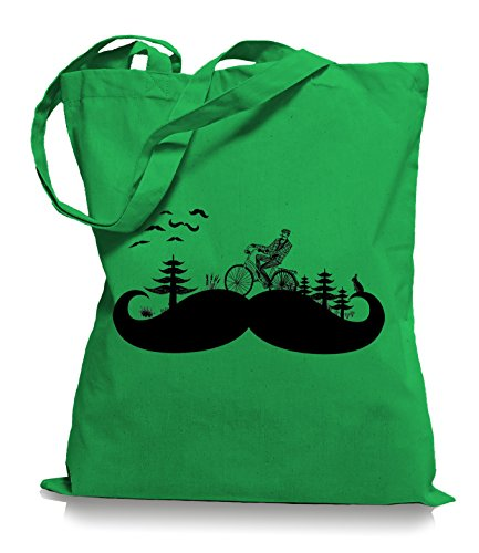 Moustache Land Stoffbeutel | Kult Hipster Retro Tragetasche Bart Kelly PbeKnHo