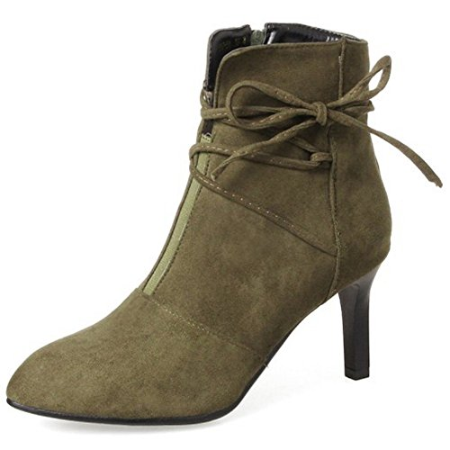 TAOFFEN Women Fashion Stiletto Pumps Shoes Spring Autumn Ankle Boots 1344 Khaki 0KOonZ