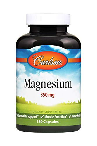Carlson Magnesium 350 mg, Heart and Muscle Health, 180 Capsules