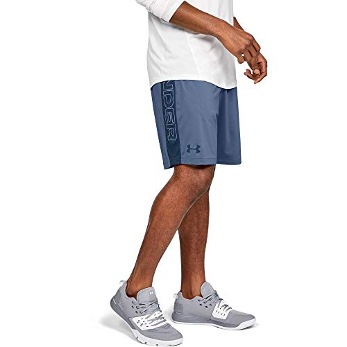 (Under Armour MK1 Wordmark Shorts, Thunder//Petrol Blue, Large)