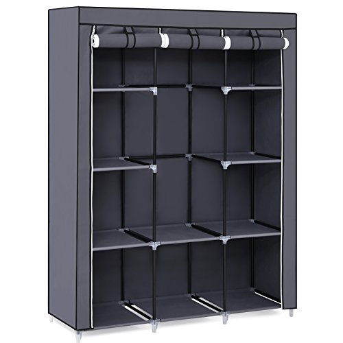 "SONGMICS 51"" Portable Closet Organizer Wardrobe Storage Organizer with 10 Shelves, Quick and Easy to Assemble, Extra Space, Grey URYG93G"