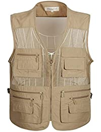 Men's Summer Mesh Fishing Vest Photography Work Multi-Pockets Outdoors Journalist's Vest Sleeveless Jackets
