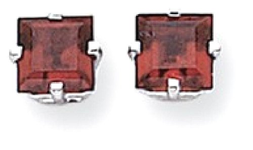 ICE CARATS 14k White Gold 5mm Princess Cut Red Garnet Post Stud Ball Button Earrings Gemstone by ICE CARATS