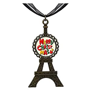 Chicforest Bronze Retro Style words for merry christmas Eiffel Pendant