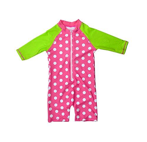 Bonverano(TM Kids UPF 50+ Sun Protection S/S One Piece Zip Sun Suit with Sun Hat (6-9 Months, (Infant Sun Protection Suit)