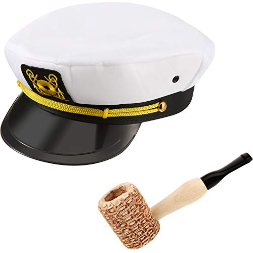 Yacht Sailor Costume Accessories Yacht Captain Hat and Sailor Hat with Corn Cob Pipe -