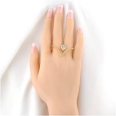 Review Mytys Stylish Heart Shape Teardrop Crystal 2 Finger Fashion Silver Rings CZ Cubic Zirconia Ring Size 8
