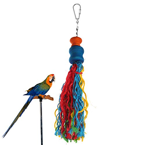 Parrot Toys, Small or Medium-Sized Bird Toys Jusney Pure Natural Wood and Colorful Sword Hemp Rope, Parrot Cage Climb Toys