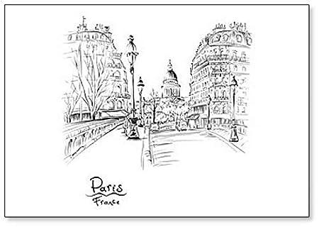 Dibujo a mano. Imán para nevera de Seine Pont Louis Philippe Near ...