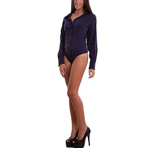 Maniche Body Maglia Perizoma Nuovo C Colletto Camicia Lunghe s021 Blu Donna qffBwA