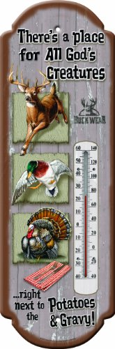 River's Edge Products All Gods Creatures Tin Thermometer