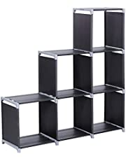 SONGMICS 6-Cube Bookcase, Cube Storage, Staircase Organiser, Step Rack in Living Room, Storage Shelf in Bedroom, Children's Room, Bathroom, for Toys and Daily Necessities, Room Divider, Black LSN63H
