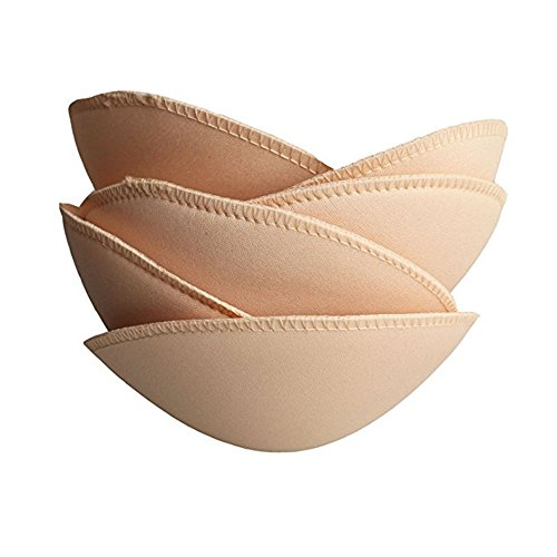 (TopBine 3 pairs Round Soft Bra Inserts Pads Removable Sport Bra Cups inserts Mastectomy Bra Inserts For Bikini Top Swimsuit (A/B beige))