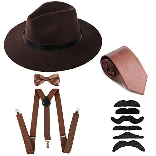 Men's Roaring 1920s Set Manhattan Fedora Hat,Y-Back Suspenders & Pre Tied Bow Tie, Gangster Tie & Fake Mustache (OneSize, Coffee Hat & Coffee -