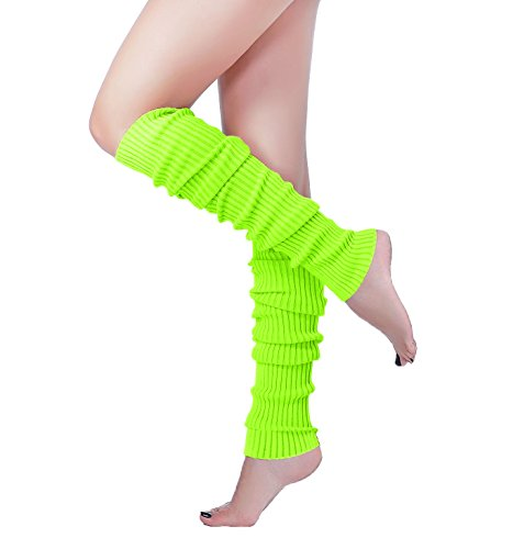 Long Leg Warmer, V28 Women's Men 80s Party Ribbed Knit Dance Sports (61Flu)]()