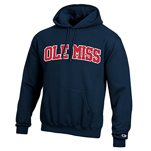 Ribbed Rebels Sweatshirt - Champion NCAA Mississippi Old Miss Rebels Men's Eco Powerblend Hooded Sweat Shirt, Large, Navy