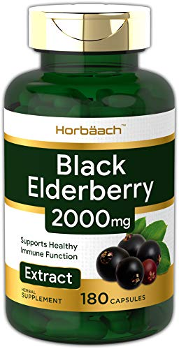 Horbaach Black Elderberry 2000 mg 180 Capsules   Immune Support   Non-GMO, Gluten Free   Sambucus Herbal Extract Supplement
