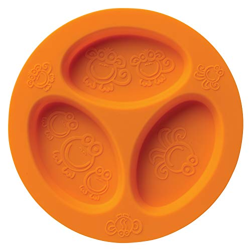 Silicone Baby & Toddler Divided Plate. Safe for Oven, Microwave, Dishwasher, Freezer and Boil Safe! Orange