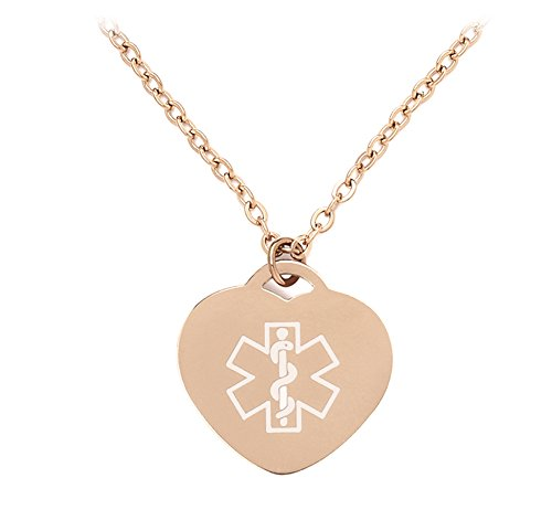 Rose Gold Tone Heart Medical ID Alert Necklaces Pendant for Women with 22