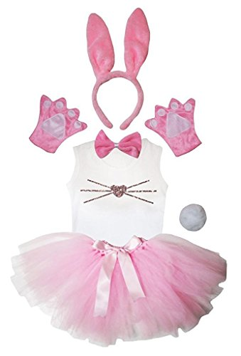 Petitebella Headband Bowtie Tail Gloves Shirt Skirt 6pc Girl Costume (Pink Bunny Nose, 5-6 Yr) -