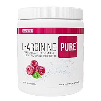 L-Arginine Pure Best Tasting L-arginine Drink Mix Formula for Blood Pressure, Cholesterol, Heart Health, and More Energy 13.7 oz, 390g Raspberry, 6 Bottles
