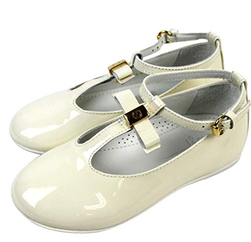 Card Ballerina Flat (Gucci Kids White Patent Leather Ballet Flat with Bow 285313 (G 28 / US 11))