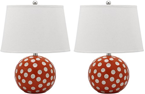 Safavieh Lighting Collection Polka Dot Cirle Orange and White 21-inch Table Lamp Set of 2