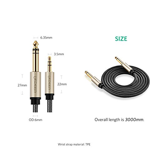 UGREEN 6.35mm 1/4'' Male to 3.5mm 1/8'' Male TRS Stereo Audio Cable with Zinc Alloy Housing and Nylon Braid Compatible for iPod, Laptop,Home Theater Devices, and Amplifiers, 10FT by UGREEN (Image #6)
