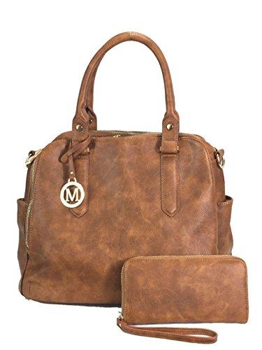 Zzfab Leatherette Triple Compartments Satchel Purse and Wallet Set Brown