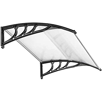 Window Awning Or Front Door Canopy - Window Awning Overhead Door Modern Polycarbonate Cover Outdoor Front Door Patio Canopy UV Rain Snow Sunlight Protection Hollow Sheet/Black : Garden & Outdoor