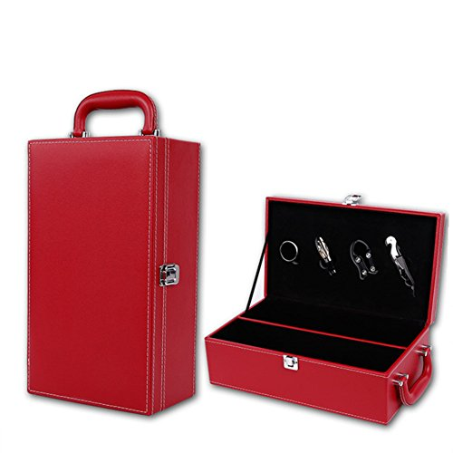 LANGUGU PU Leather Bottle Modern Top Handle Wine Box Travel Storage Box Champagne Bottle Case Holder Carrier with 4 Piece Wine Accessory Set (Two Bottle Red)