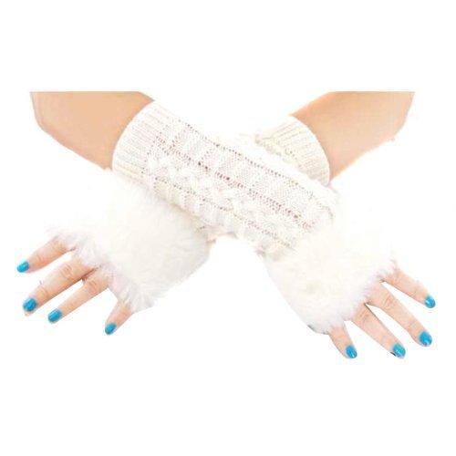 UZZO™Christmas Gift Women Winter Faux Fur Trim Hand Wrist Warmer Knitting Long Sleeve Arm Sleeve Warmer Fingerless Gloves Mitten with Thumb Slot Hole With 1Free UZZO Logo Keyring (White)