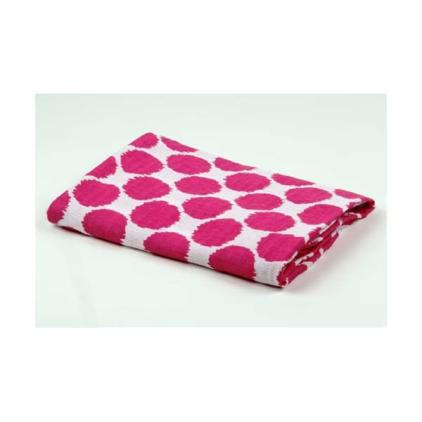 Bacati Ikat Pink Dots One Swaddling Muslin Blanket Single