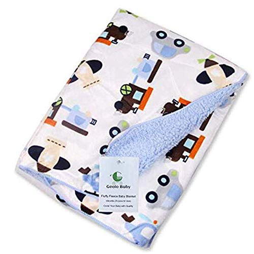 (Genio Baby Sherpa Fleece Baby Blanket Unisex 30 x 40 Soft- Perfect for Swaddling and Strolling- Fluffy for Boys and Girls (Light)