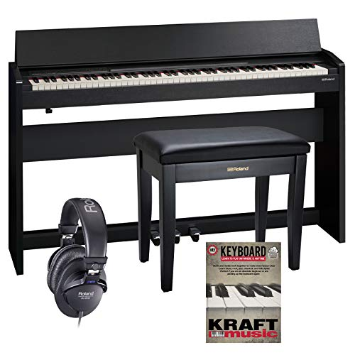Roland F-140R Digital Piano – Contemporary Black with Bench, Headphones, and Lesson Book