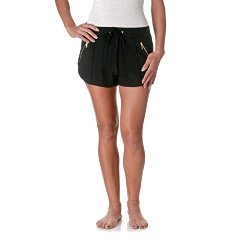 Active Basic Women's Elastic Drawstring Waist with Zipper Pockets Shorts, Black, Size Small